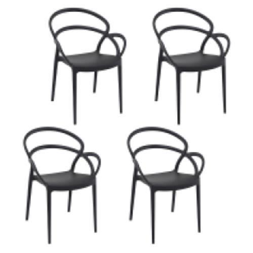 Fauteuils de terrasse MILA - Noir - X4 - E-Terrasses