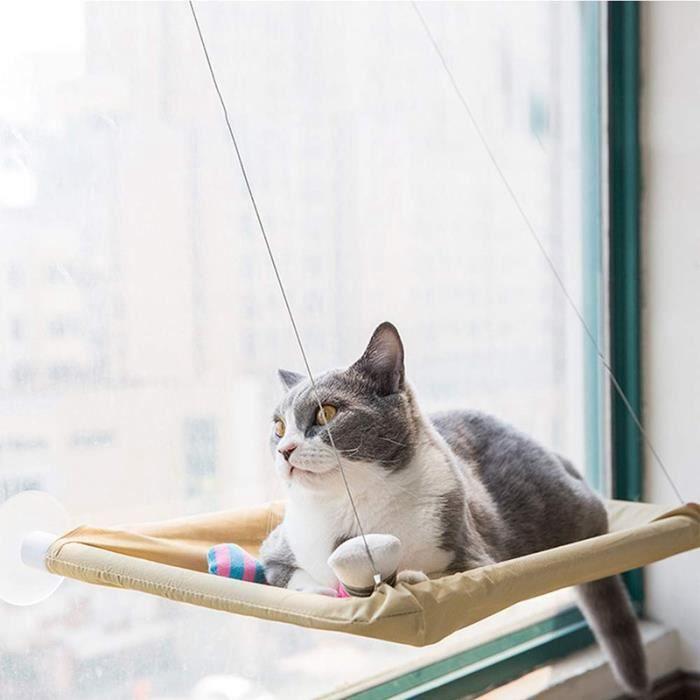 Hamac Cat, SièGe de FenêTre Cat pour SièGe Ensoleillé avec Ventouses ÉConomisez de la Place pour le Lit de Chat Tout Autour pour