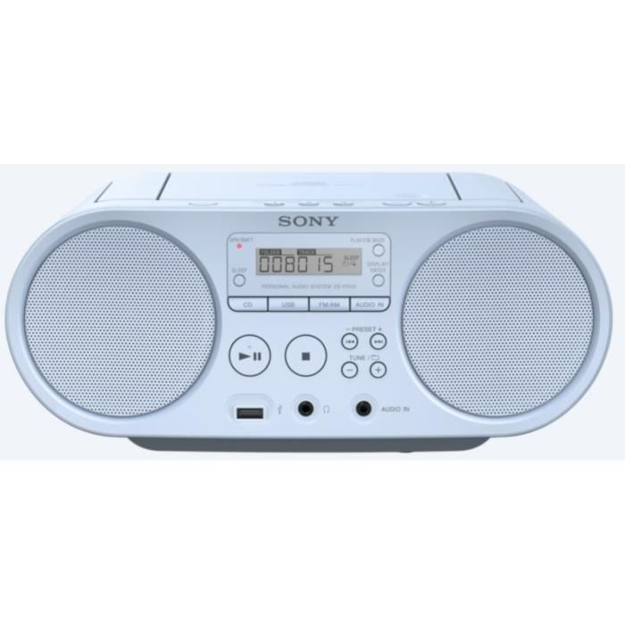 SONY ZSPS50W - Boombox CD USB - AM-FM - Blanc