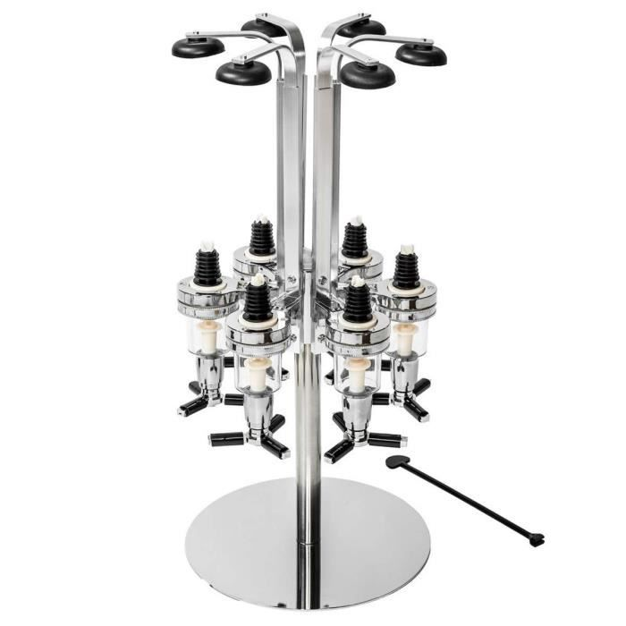 TECTAKE Support pour 6 Bouteilles Design avec Doseur Alcool 1,5 oz (43 ml) en Aluminium