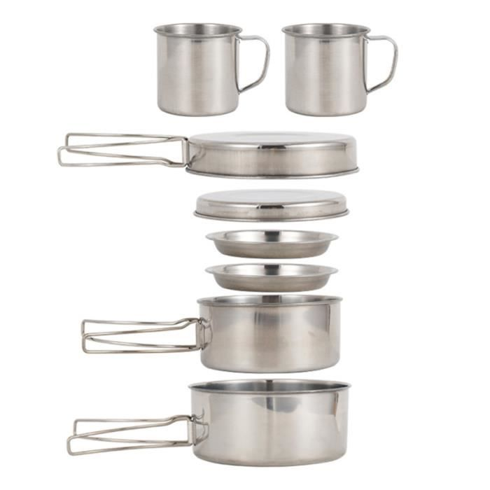 Batterie de cuisine professionnelle 8 pièces Premium de haute qualité pour les voyages en plein air POPOTE - VAISSELLE - COUVERTS