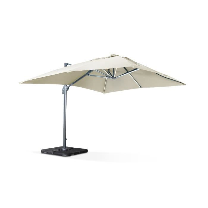 parasol d port solaire led 3x4m luce beige haut de gamme avec lumi re int gr e achat vente. Black Bedroom Furniture Sets. Home Design Ideas