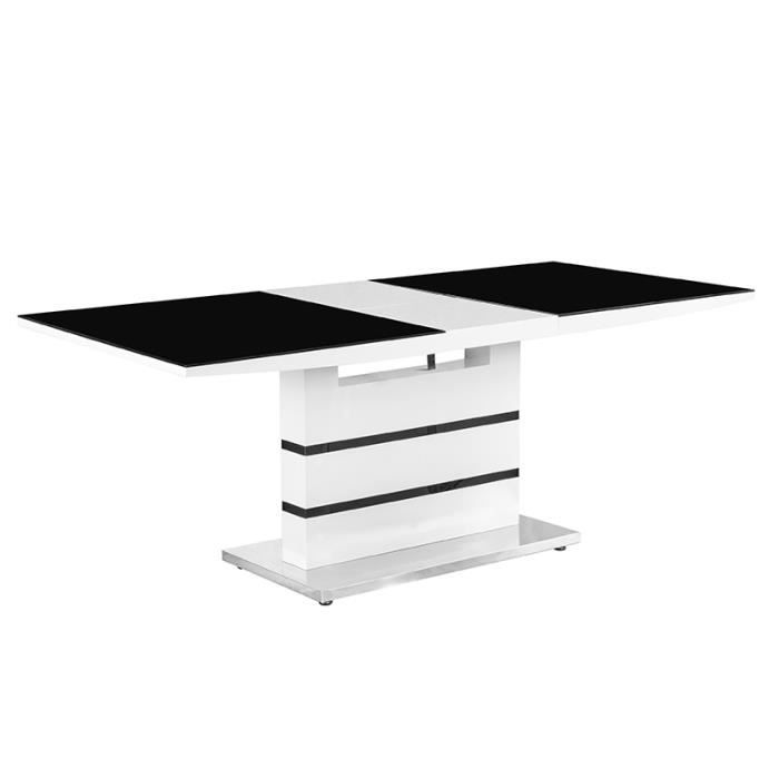 Table manger design noir et blanc avec rallonge ultra for Table rallonge noire
