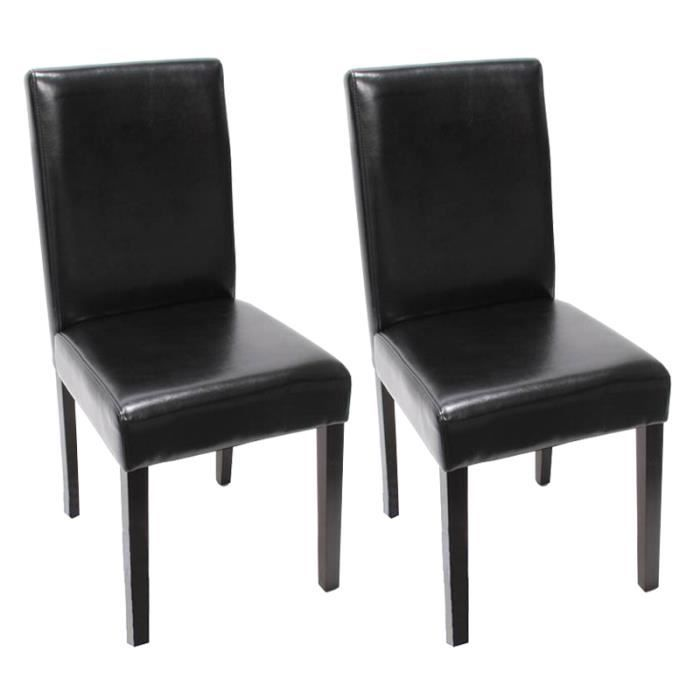 2x chaises de salon en cuir littau noir achat vente for Chaise de salon