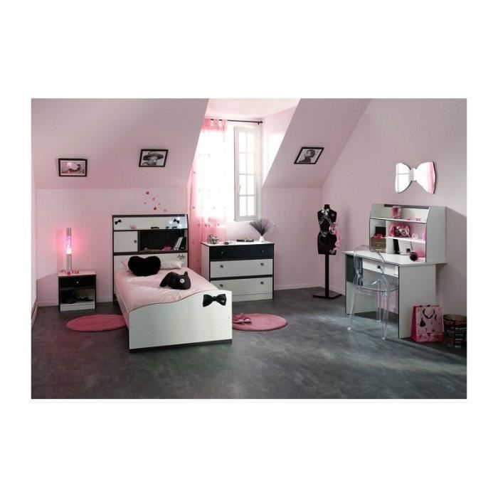 chambre fille avec bureau disco noire et blanche achat. Black Bedroom Furniture Sets. Home Design Ideas