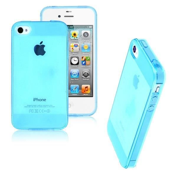 coque housse iphone 4 4s silicone bleu transparent achat. Black Bedroom Furniture Sets. Home Design Ideas