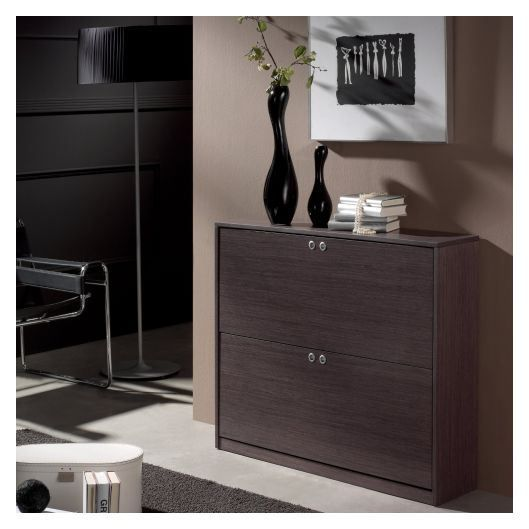 meuble chaussures bas 16 paires bois cendr achat. Black Bedroom Furniture Sets. Home Design Ideas