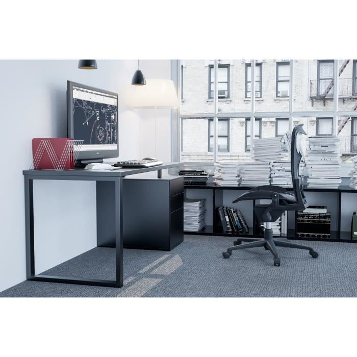 alpha bureau 160 x 70cm noir achat vente bureau alpha bureau noir structure panneaux de. Black Bedroom Furniture Sets. Home Design Ideas