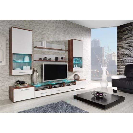 ensemble meubles tv design cimi 2 bois et blanc. Black Bedroom Furniture Sets. Home Design Ideas