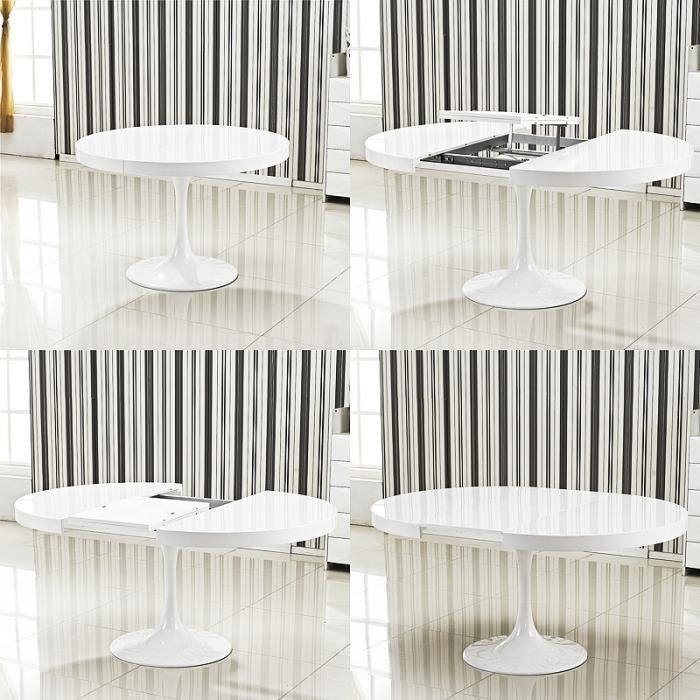 table ronde extensible angie blanc achat vente table manger seule table ronde extensible. Black Bedroom Furniture Sets. Home Design Ideas