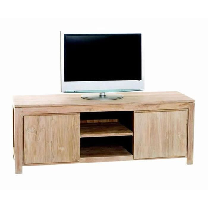 meuble tv avec 2 portes et 2 tag res en teck 165 x 50 x 60 cm achat vente meuble tv meuble. Black Bedroom Furniture Sets. Home Design Ideas
