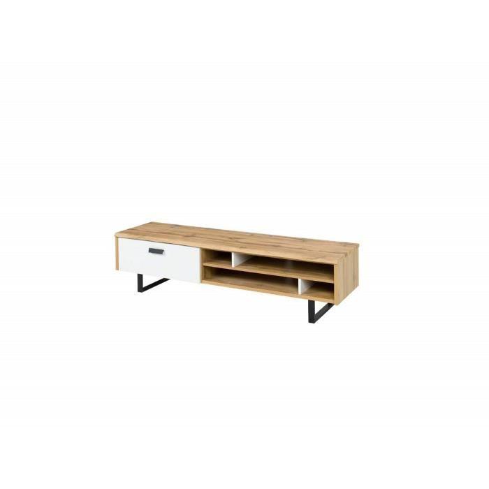 Meuble Tv Design Oak Petit Modele Ideal Pour Votre Salon Look Moderne Et Tendance Type Industriel Bois Et Metal 45 Marron