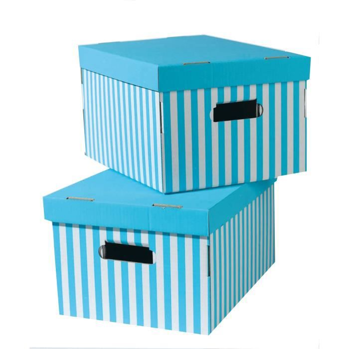 shirt lot de 2 bo tes ray es turquoise 40x31x21 cm achat vente boite de rangement carton. Black Bedroom Furniture Sets. Home Design Ideas
