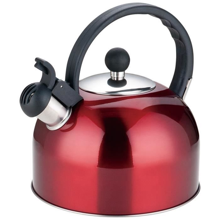 Bouilloire sifflet 2,5L Cuisson Induction Gaz Rouge En Acier Inoxydable