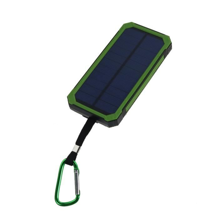batterie externe portable puissance solaire pour t l phone mobile 2 ports usb 12000mah vert. Black Bedroom Furniture Sets. Home Design Ideas