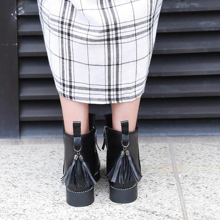 Pilerty®Femmes rondes Toe Shoes Tassel bottillons en cuir Zipper Solide Couleur Martin Bottes LJD80904894BK35 Noir