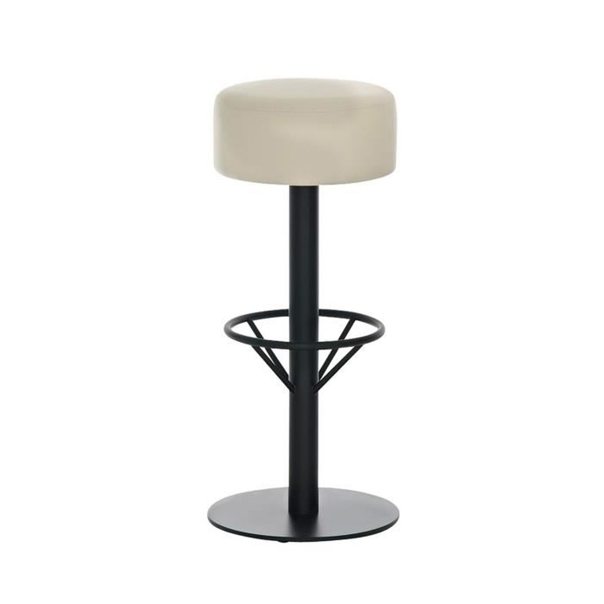 tabouret de bar en m tal avec si ge en similicuir cr me 85 x 38 x 38 cm achat vente. Black Bedroom Furniture Sets. Home Design Ideas