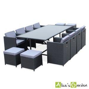 Ensemble table et chaise de jardin Salon de jardin Vasto Noir table en résine tressée