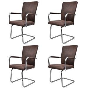 CHAISE Lot de 4 chaises Robinson marron -