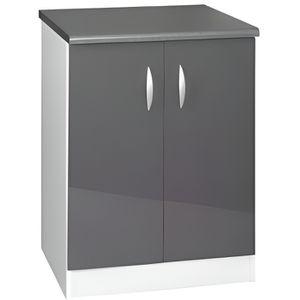 ELEMENTS BAS Meuble cuisine bas 60 cm 2 portes OXANE gris