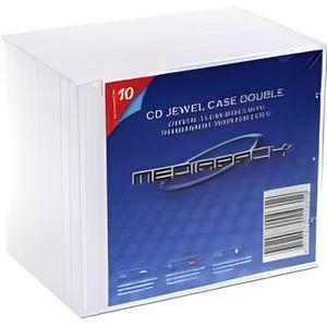 RANGEMENT CD-DVD PACK 10 BOITIERS CD JEWELBOX STD 2 CD TRANSPARENTS