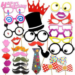 KIT DE DECORATION 31pcs anniversaire Photo Booth bâton Props bricola