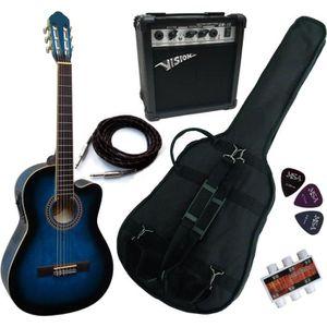 PACK INSTRUMENTS CORDES PACK Guitare Électro-Classique Bleue Ampli 15W 5 A