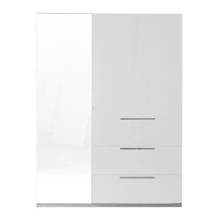 Sunrise armoire de chambre 162 cm laqu blanc brillant for Chambre adulte laque blanc