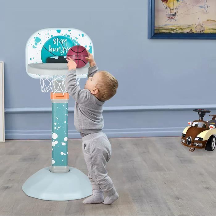Support de Basket Multifonctionnel avec Panier de Basket Hauteur Ajustable 74 et 114cm,