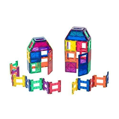 Playmags 48 Piece Set - With Stronger Magnets STEM Toys for Kids Magnetic Tiles and Building Blocks Sturdy Super Durable with Vivid