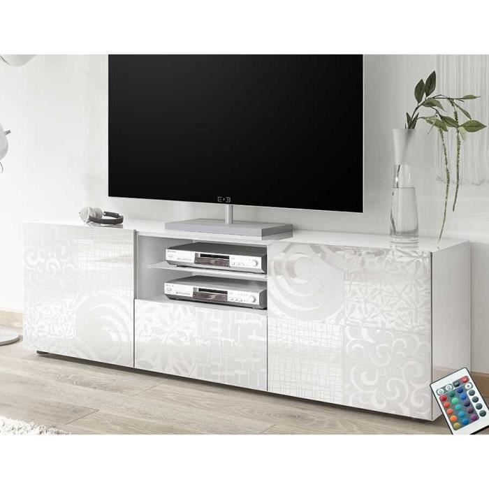 Grand meuble TV blanc laqué design ELMA Avec éclairage