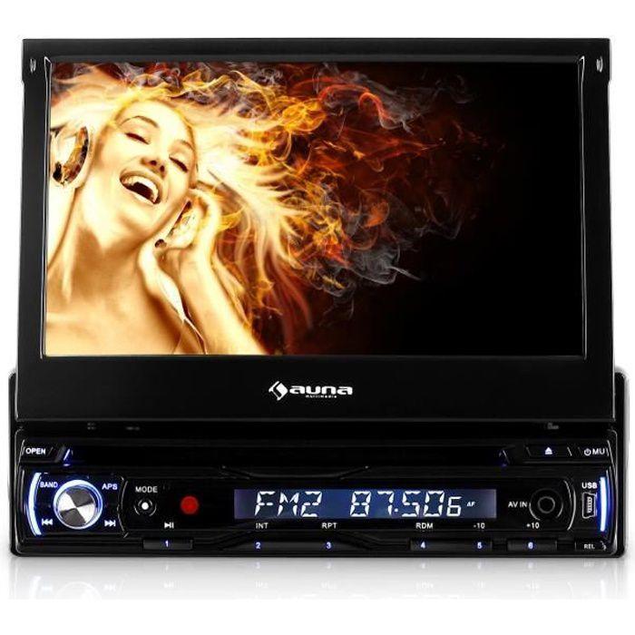 Auna DTA90BT - Autoradio multimedia avec ecran retractable 18cm, Bluetooth, lecteur DVD, port USB et slot SD