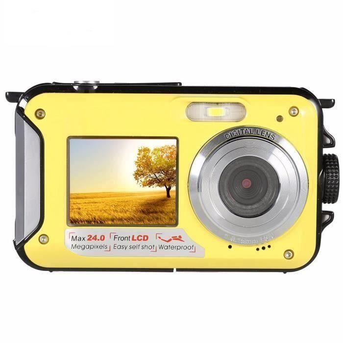 Appareil photo numérique 24MP étanche MAX 1080P Double ScrZoom Caméscope Jaune J0CF14