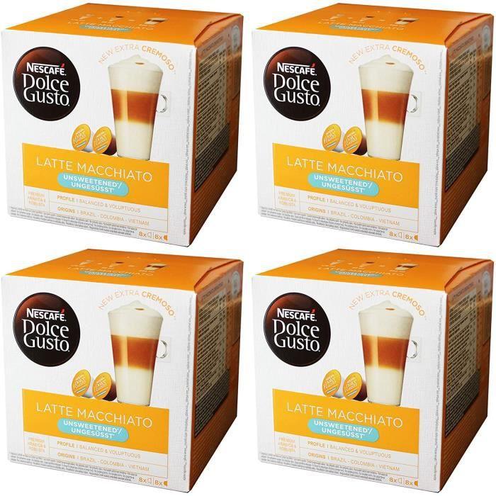 Dolce Gusto Latte Macchiato sans Sucre , Lot de 4, 4 x 16 Capsules (32 portions)
