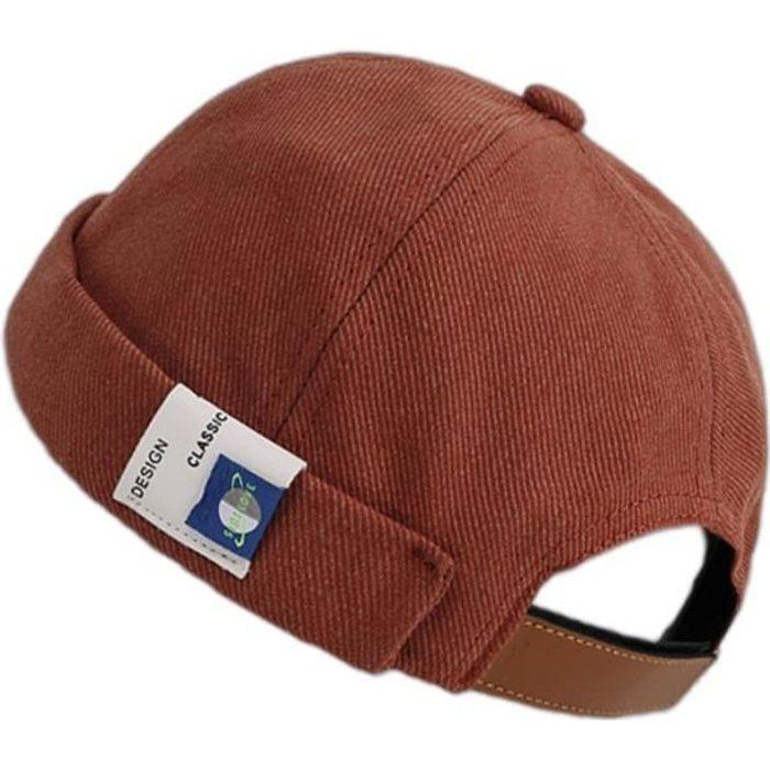 Bonnet de couleur unie rétro casquette Docker manchette roulée sans bride étiquette Hip Hop chapeau 4