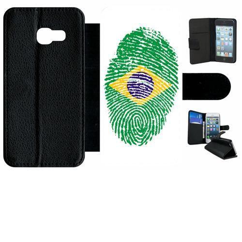Etui a rabat - Plastique - Noir Samsung Galaxy A3 (2017) 60 EMPREINTE DIGITALE DRAPEAU BRESIL BRAZIL
