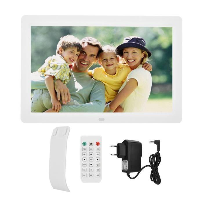 Cadre photo numérique 12 pouces 1280 * 800HD cadre photo numérique réveil lecteur Album télécommande blanc EU