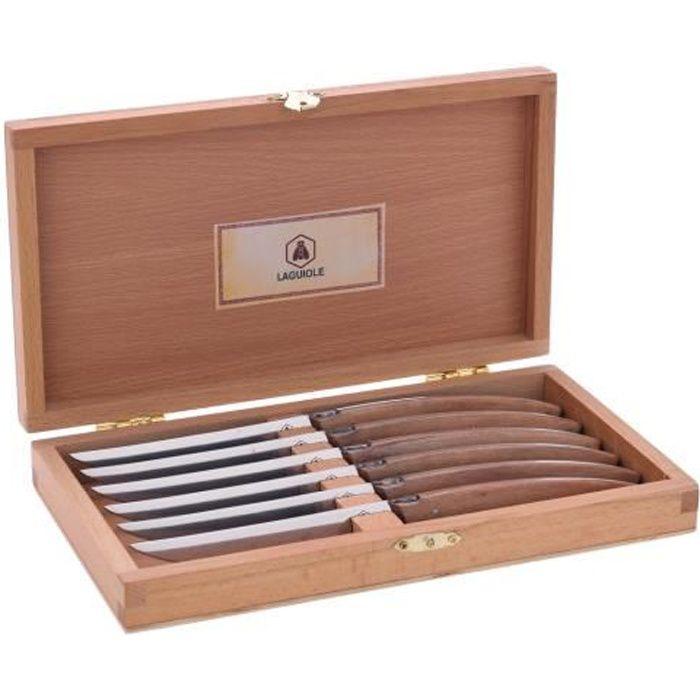 LAGUIOLE - Laguiole 40268472 Coffret de 6 Couteaux à Steak (23 cm) avec Lame en Acier Inoxydable et Manche en Bois de Pakka Marron