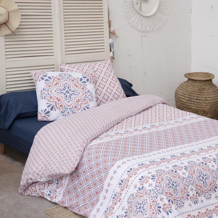 CDaffaires Parure de lit (housse de couette + 2 taies d'oreiller) 240x220 terracotta Multicolore