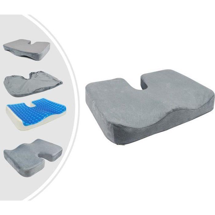 Coussin de Siège Orthopédique avec Gel, Coussin Coccyx avec une Épaisseur en Gel, Gris, Dimensions: 45 x 35 x 7 cm