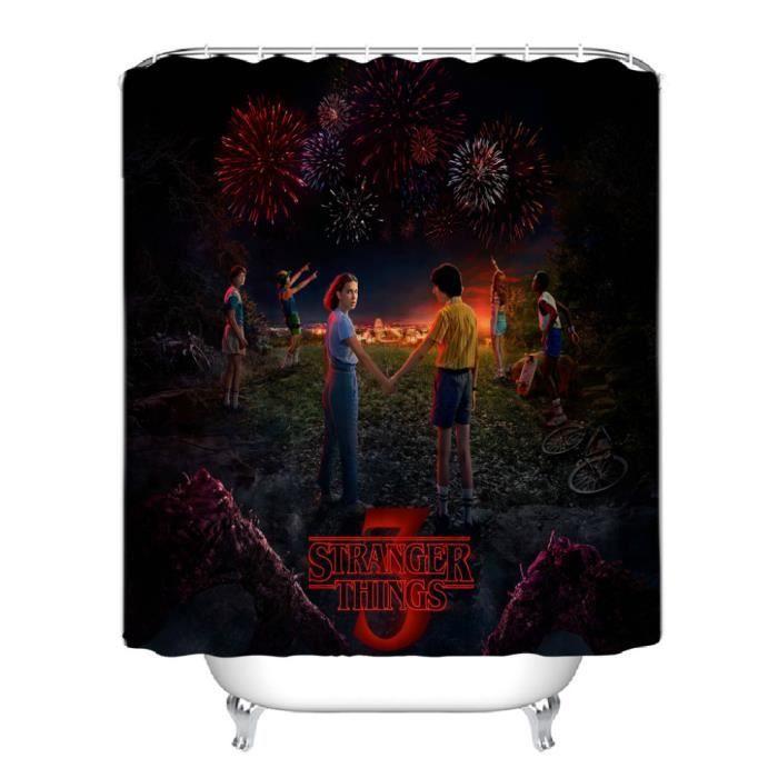 Rideau de douche Stranger Things anneaux inclus 3D effect imperméable 180 x 200 cm