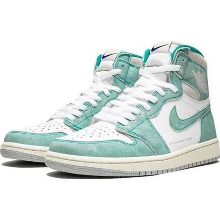 Nike Air Jordans 1 Retro High OG Turbo Green Chaussures de Basket Air Jordans One AJ1 Pas Cher pour Homme Femme Blanc et Vert