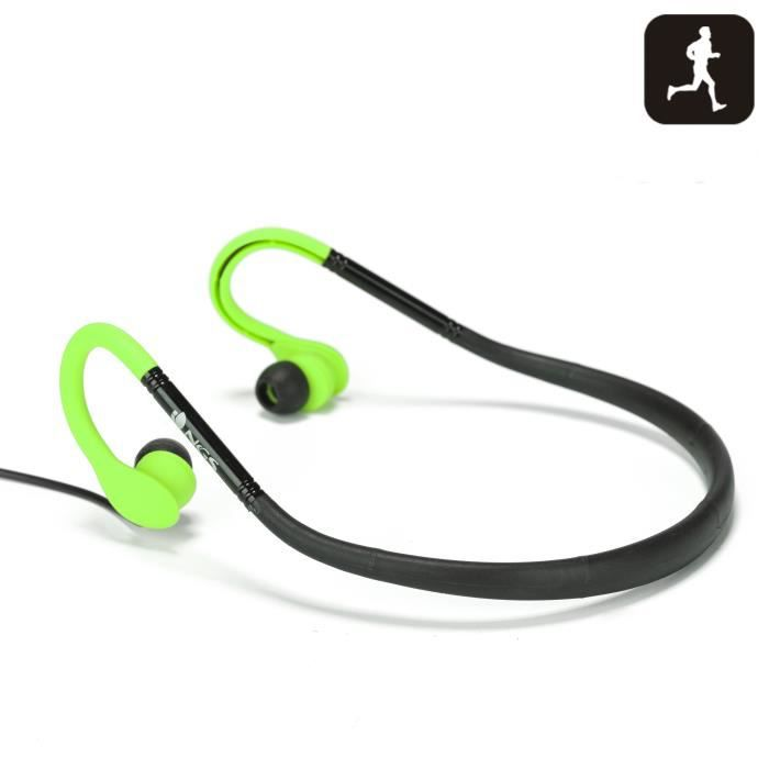 NGS Oreillettes pour Sportifs Cougar Green Fluo Ipx4 avec Micro pour Smartphone
