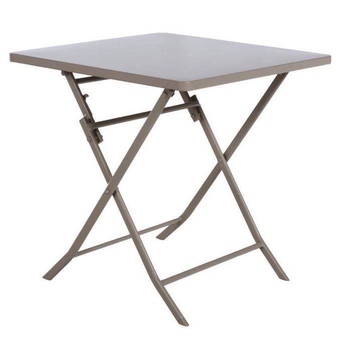 Table de jardin carrée coloris taupe clair, de 2 places - Dim : L 70 x P 70 x H 71cm