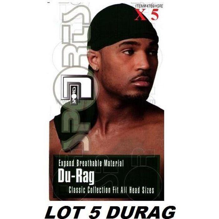 LOT 5 Bandana Foulard Préformé USA Durag - Coloris Noir - Rap US du rag - Airsoft Paintball Hip hop Moto Biker Musculation