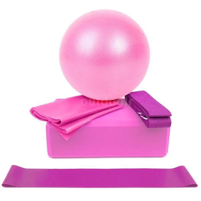 5Pcs Ballon de Yoga 25cm PVC+Bande Élastique 59 Pouces +Bloc de Yoga+Sangle en coton+Bande de boucle Rose