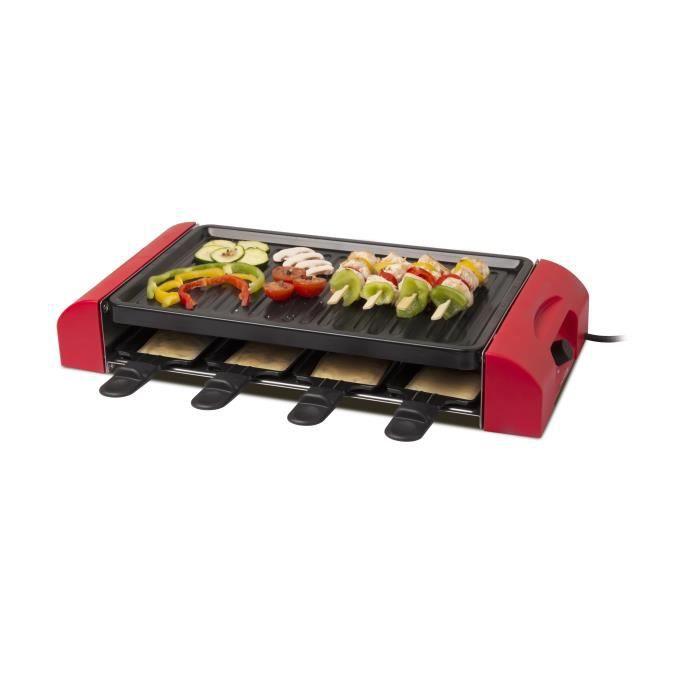 THOMSON - THRG50312 - Appareil à Raclette - 8 Personnes - Thermostat Réglable - Finition Rouge