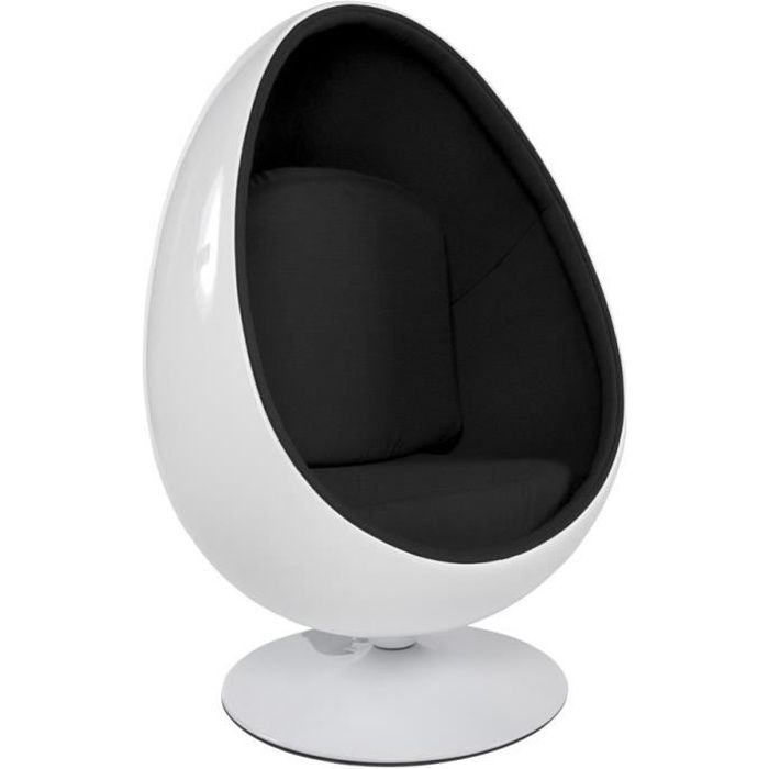 fauteuil oeuf egg coquille 39 cocoon 39 blanc noir achat. Black Bedroom Furniture Sets. Home Design Ideas