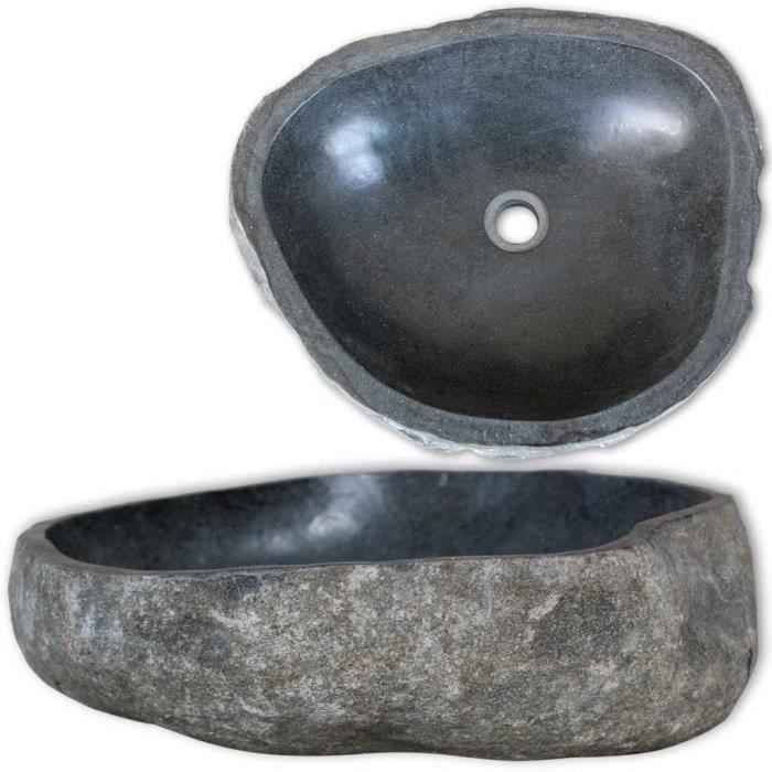Diam/ètre x H mewmewcat Lavabo en Marbre Rond Vasque /à Poser Lave Main pour Salle de Bain 40 cm Noir 40 x 15 cm