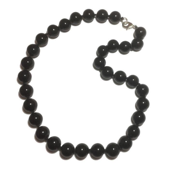 collier onyx noir femme
